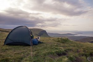 Kiri and tent up on Quiraing